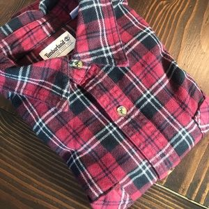 M TIMBERLAND Red Black Plaid Heavyweight Flannel